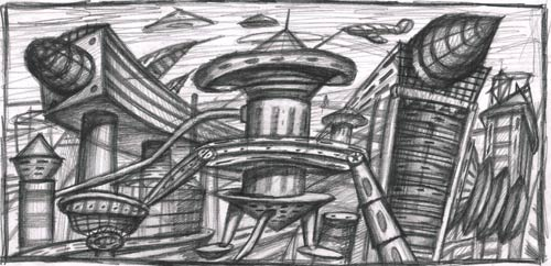 художник - Беспамятных Сергей. Архитектурная композиция. Новосибирск, 2002 г