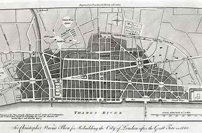 План реконструкции Лондона. Архитектор Кристофер Рен(Christopher Wren)