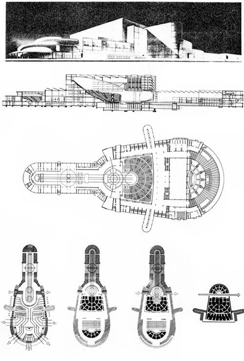 Конкурсный проект Большого синтетического театра в Свердловске, 1931 г. Архитекторы