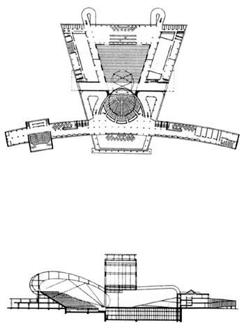 Конкурсный проект Большого синтетического театра в Свердловске, 1931 г. Архит. М. Гинзбург