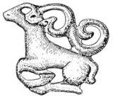 Бронзовая фигурка оленя с поджатыми ногами. Могильник Тегермансу. Восточный Памир,  V век до н.э.
