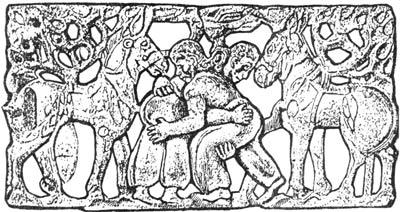 На скифской золотой пластине изображена сцена борьбы двух родственных, но противостоящих друг другу начал мира. Сибирская коллекция. V век до н.э.