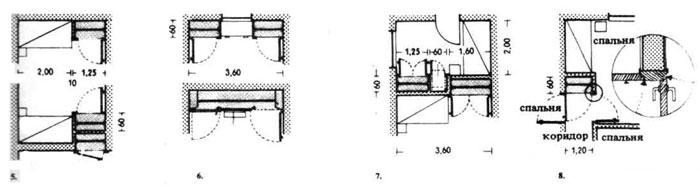 Ниши для спальных мест и шкафы-перегородки. Строительное проектирование. Нойферт