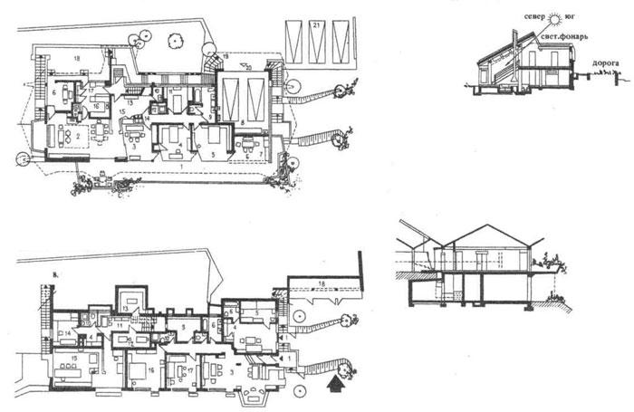 Жилые дома, возводимые на склонах местности с крутым рельефом. Строительное проектирование. Нойферт