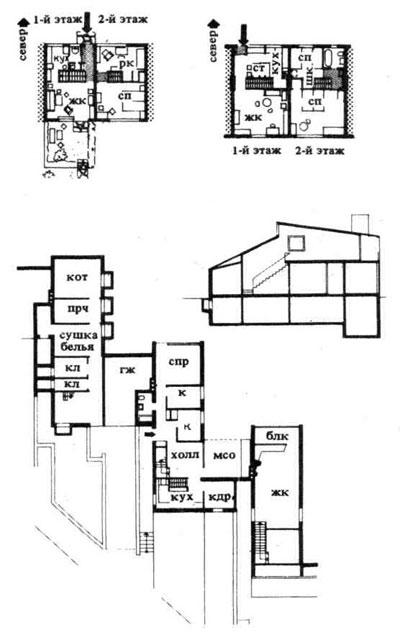 Двухэтажные дома рядовой застройки. Строительное проектирование. Нойферт