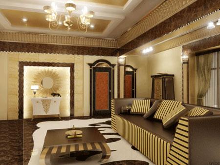 Элементы египетского стиля в интерьере гостиной