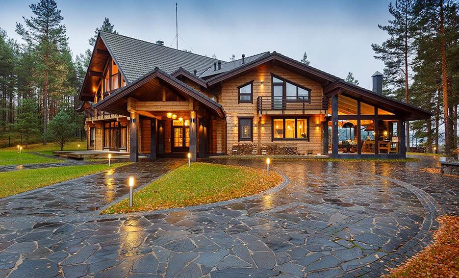 Дизайн дачного дома из клееного бруса