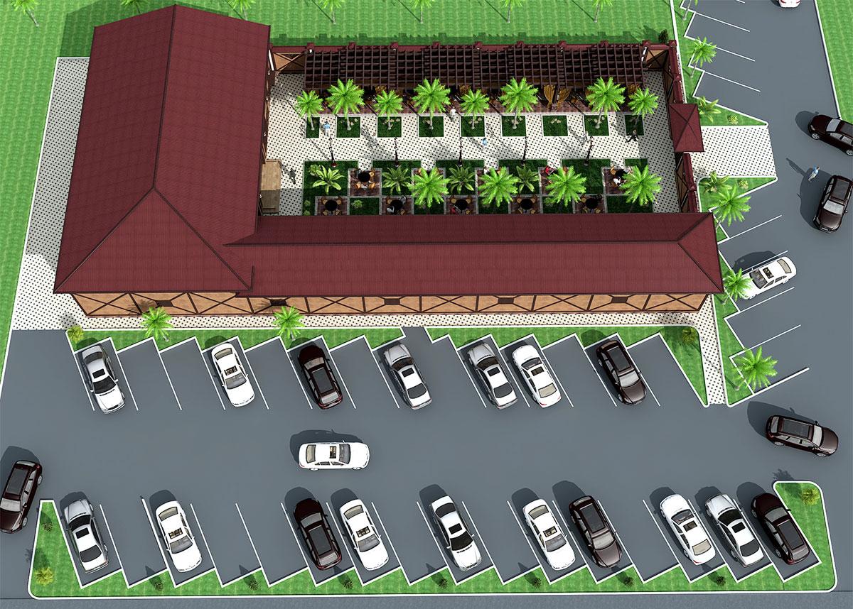Проект кафе с большой парковкой