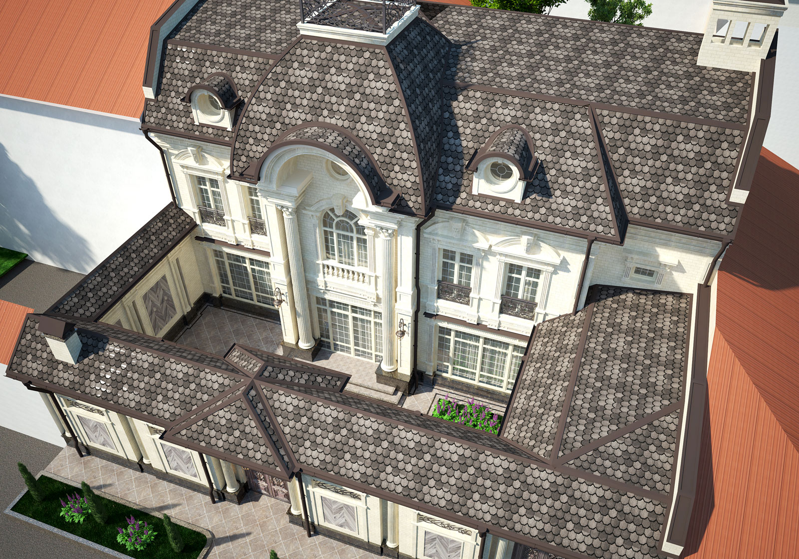 Небольшой и стильный двухэтажный дом с колоннами