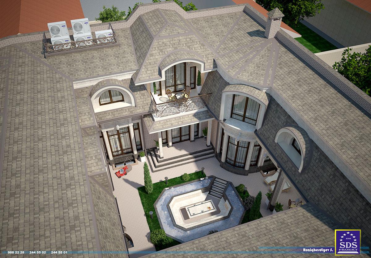 Кирпичный дом с мансардой