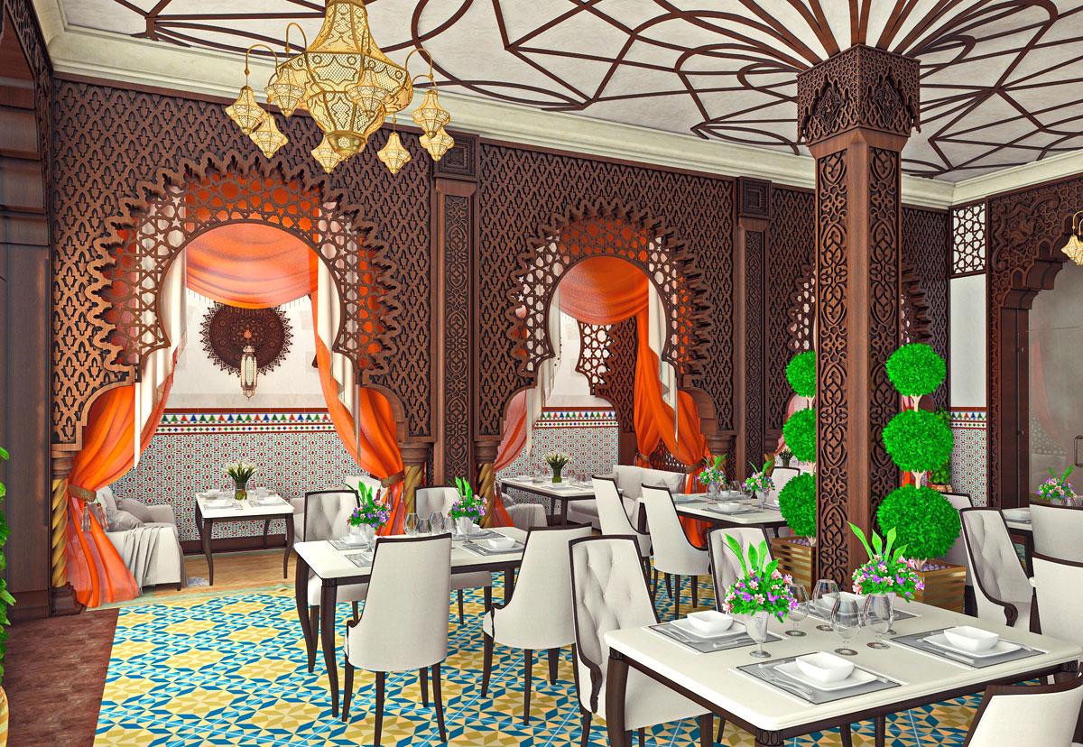 Интерьер дизайн ресторана в восточном стиле