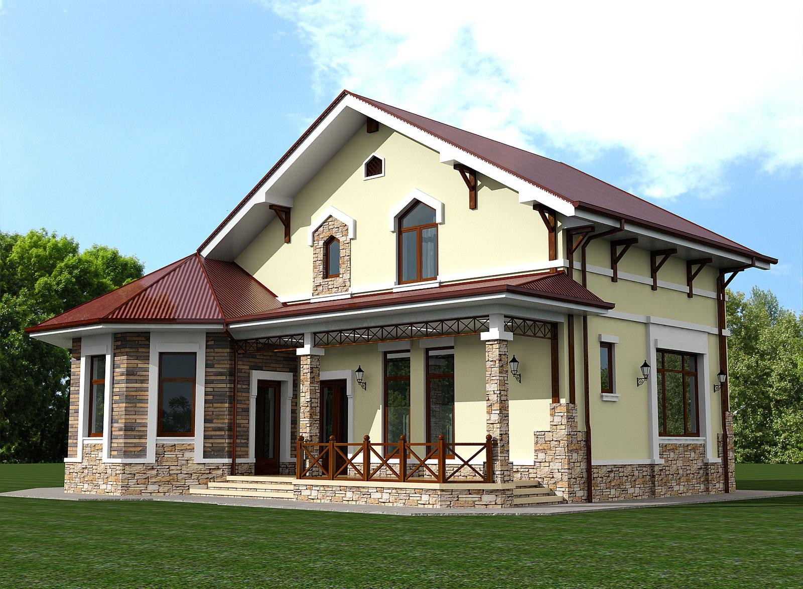 Проект дачного дома с мансардой