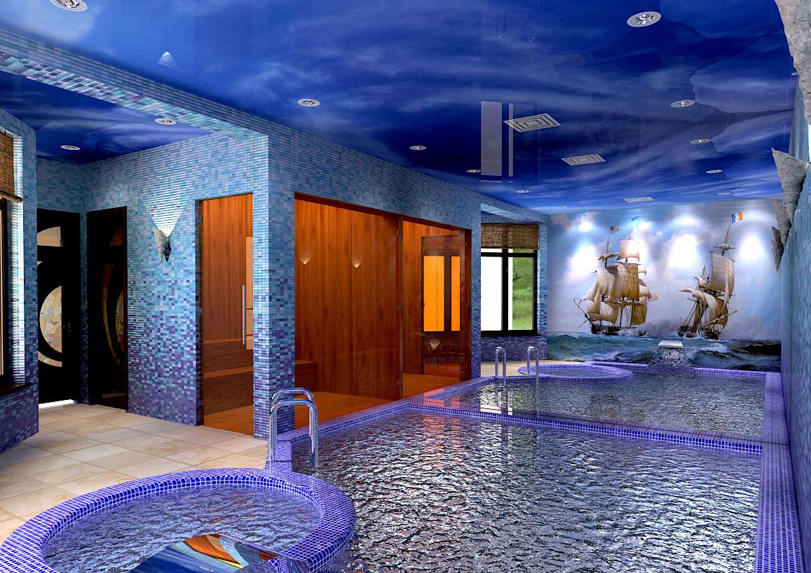 дизайн крытого бассейна в доме