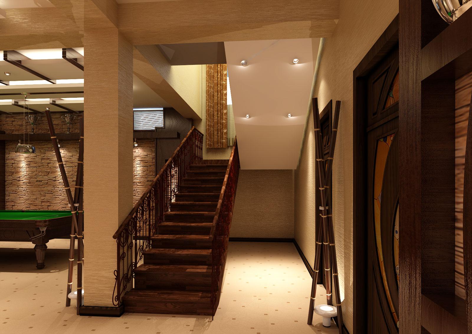 Дизайн бильярдной, фитнес зал и кабинет в подвале