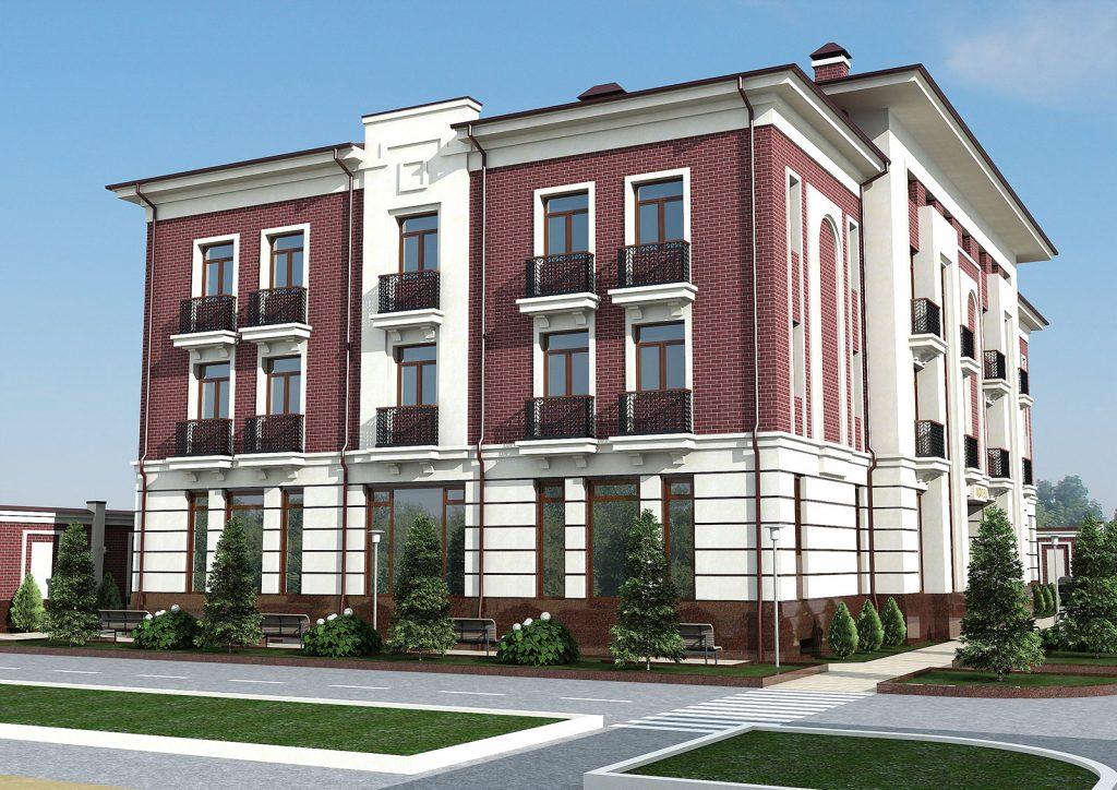 Проект трехэтажного гостиничного комплекса