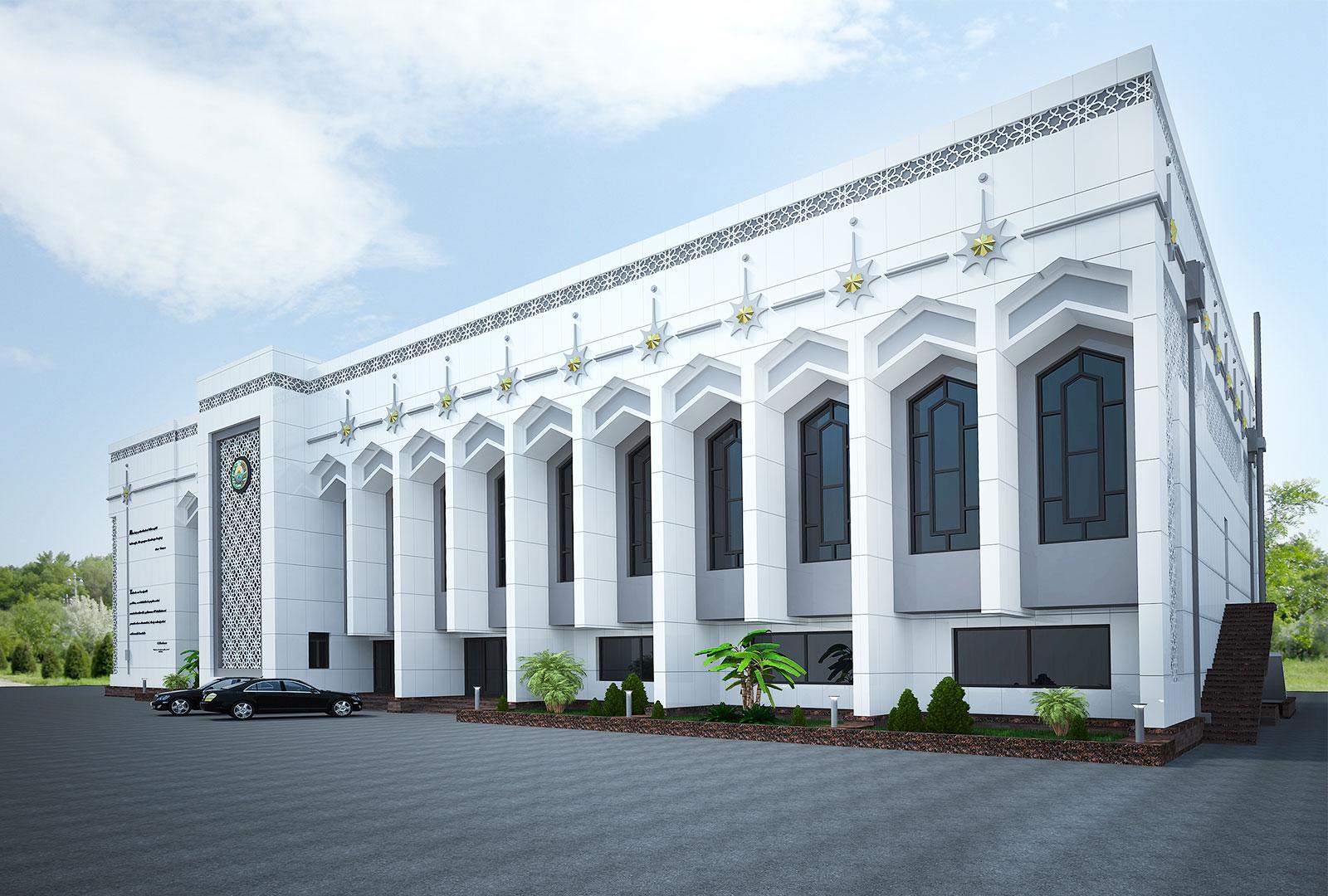Белый фасад спортивного комплекса