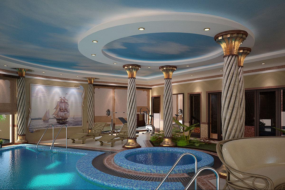 Интерьер дома в восточном стиле в Ташкенте - Крытый бассейн