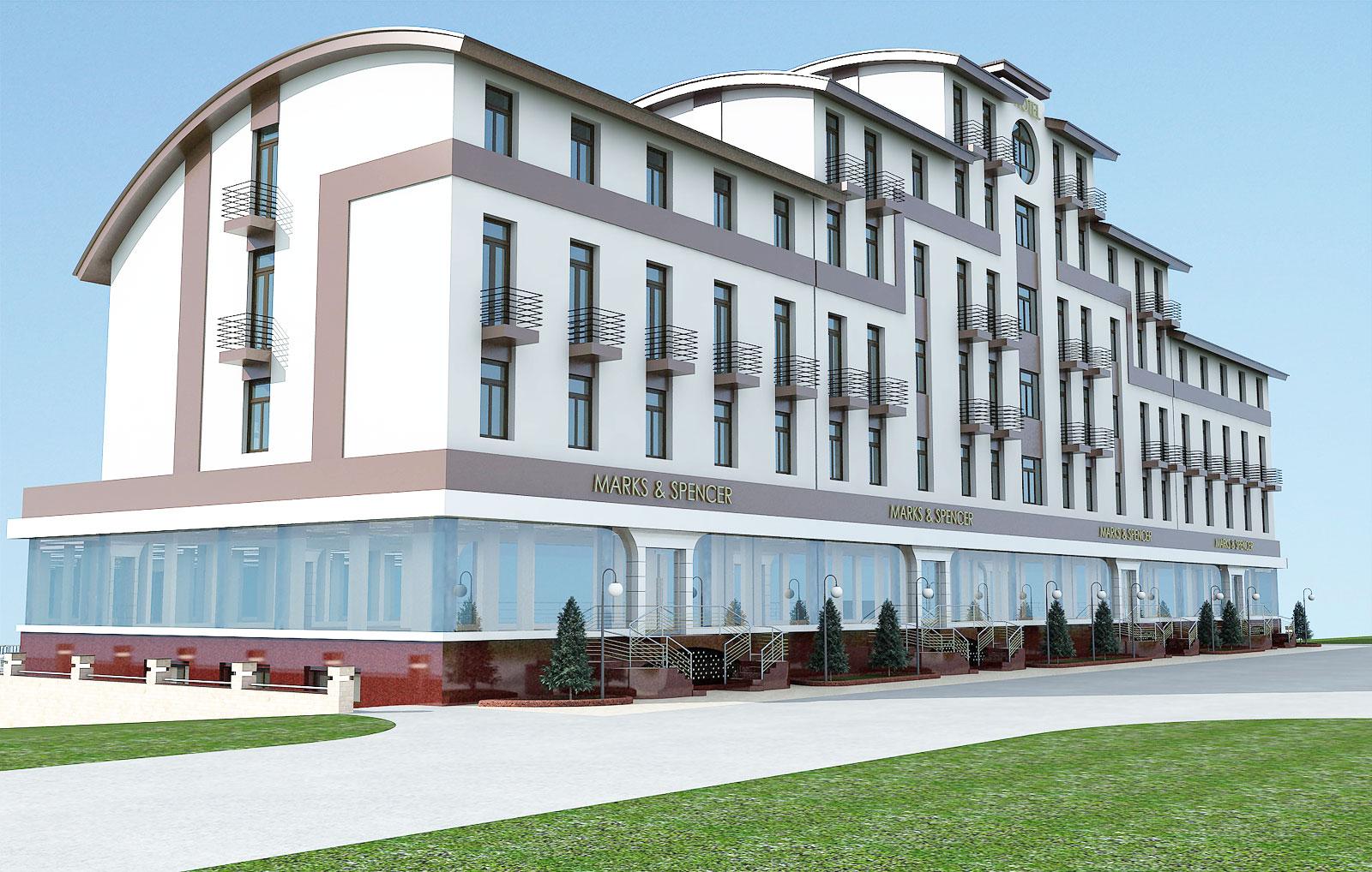 Гостиница с магазинами на первом этаже