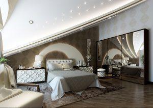 Дизайн спальни на мансарде
