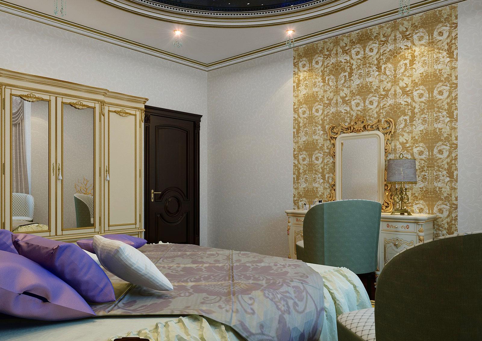 Золотые узоры и окантовки в интерьере гостиной