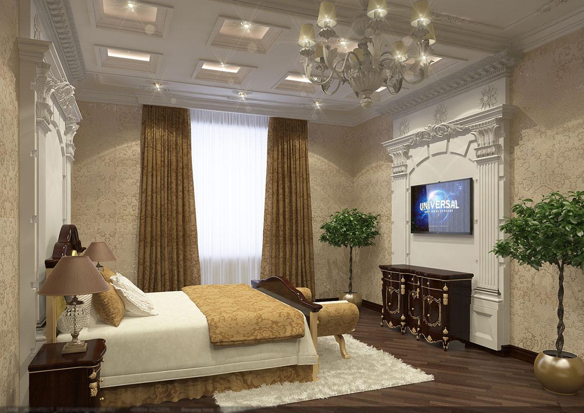 Дизайн интерьера в классическом стиле - дизайн спальной комнаты