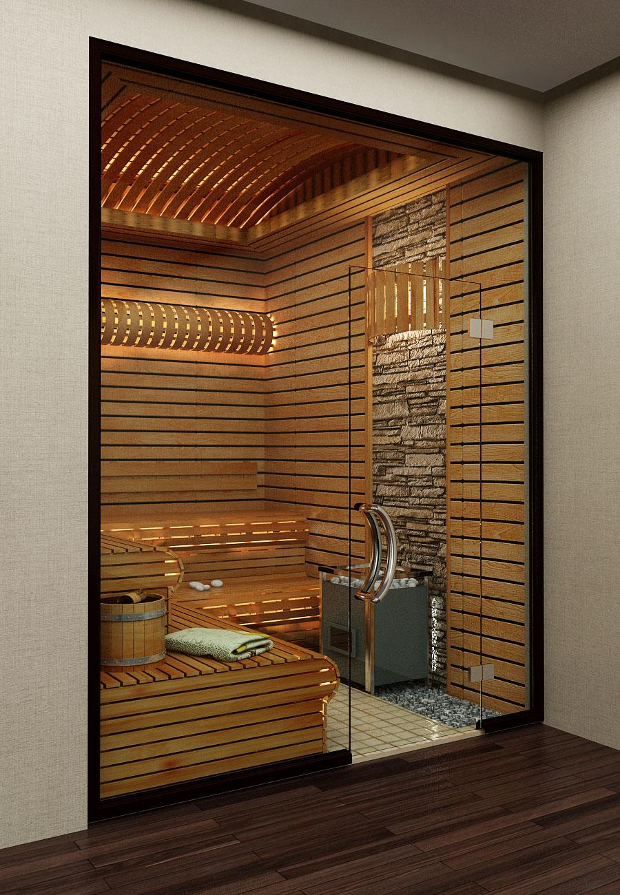 Интерьеры дома в современном стиле – сауна