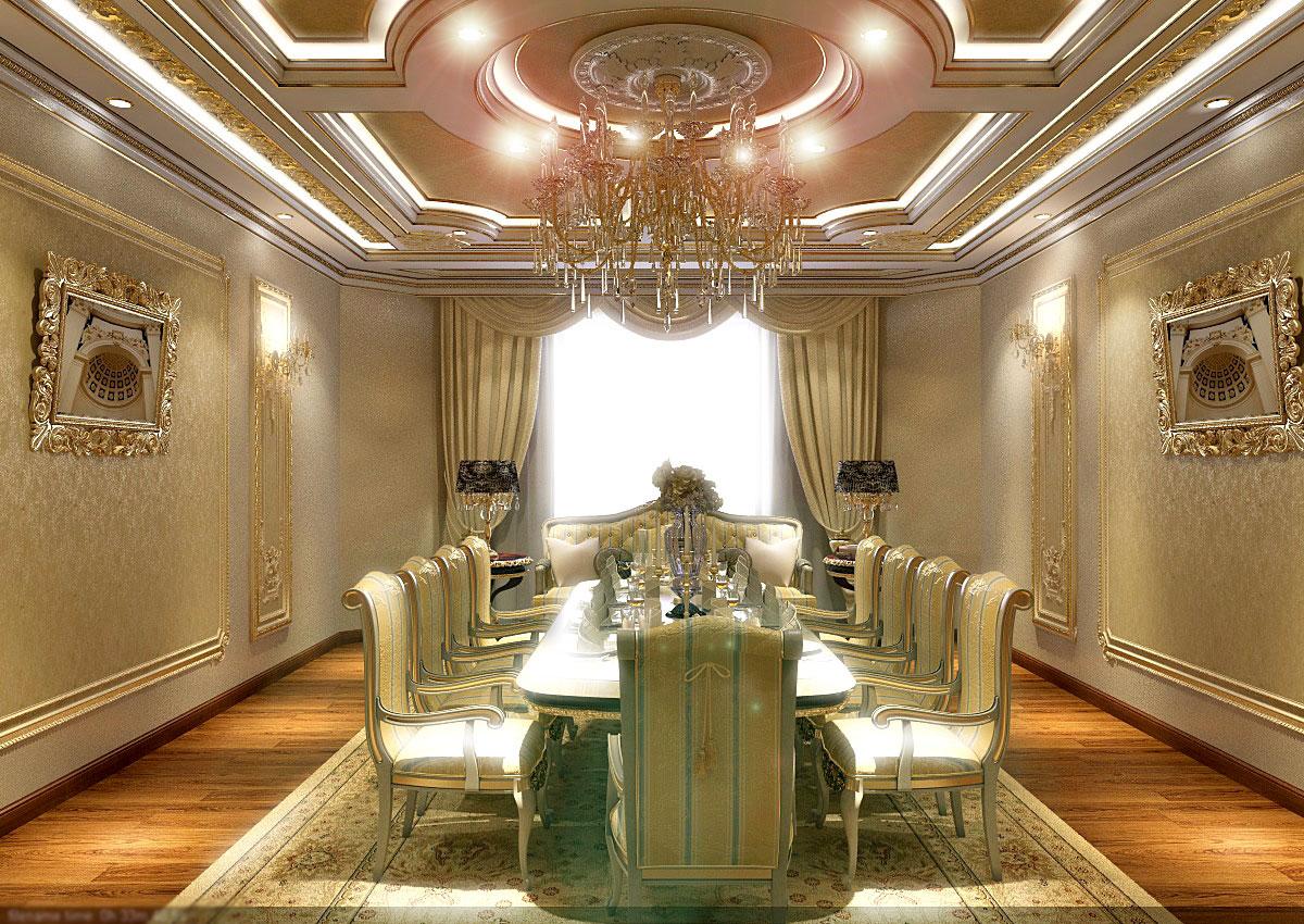 Дизайн зала в золотых тонах