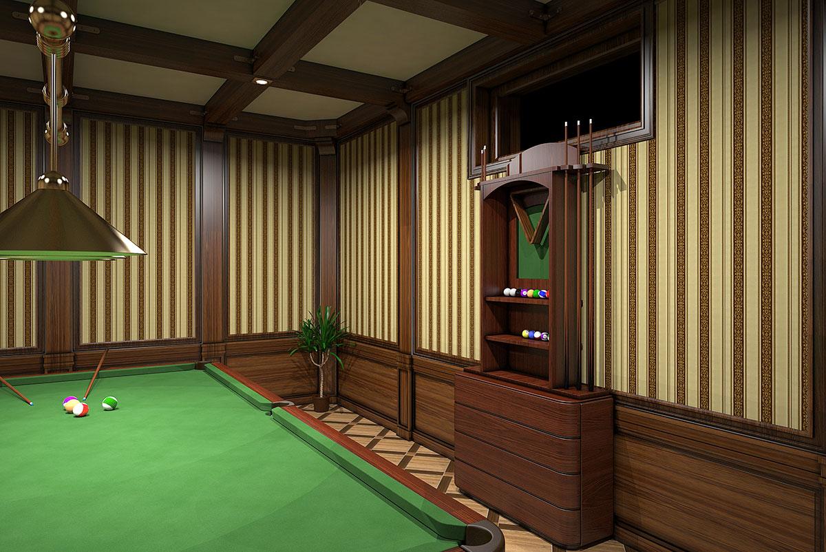 Интерьер частного дома в Ташкенте - дизайн бильярдной комнаты