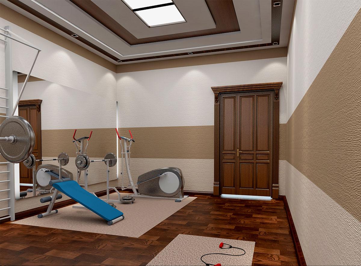Интерьер частного дома в Ташкенте – тренажерный зал
