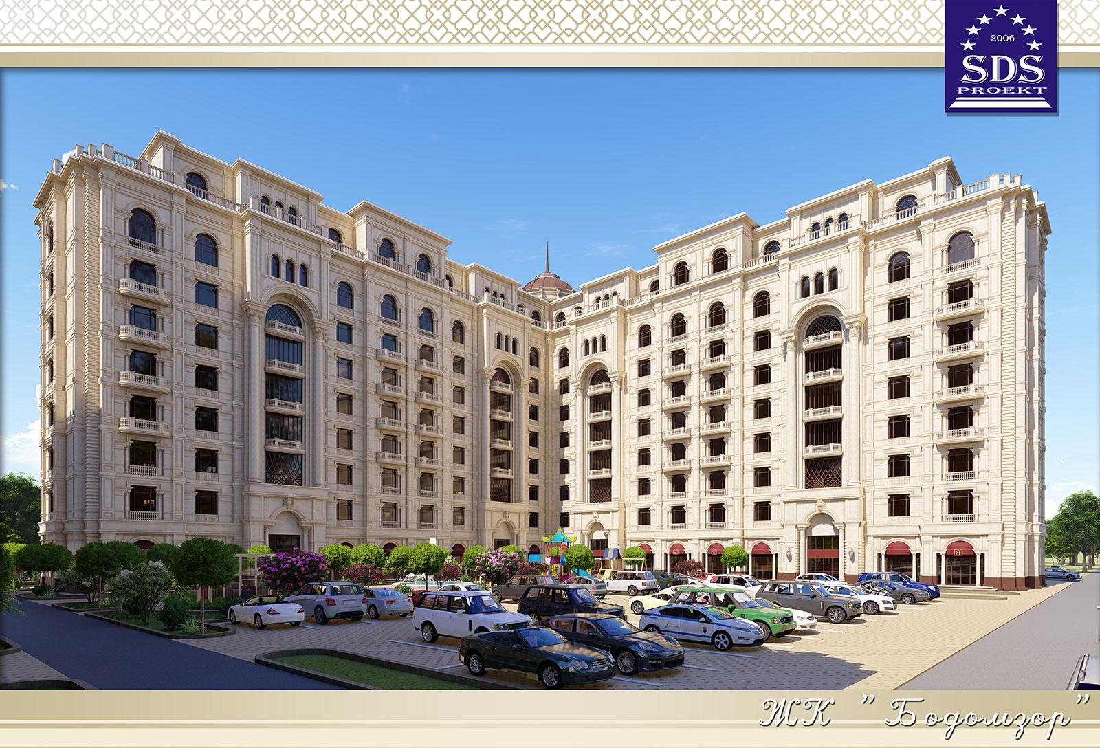 Эскизное предложение 9-этажного жилого комплекса БОДОМЗОР