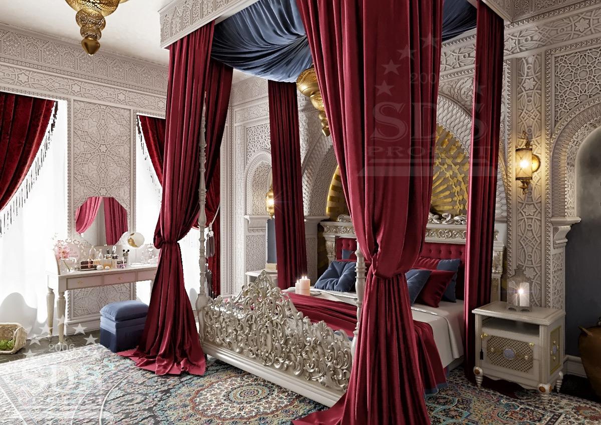 Лепнина в интерьере спальни