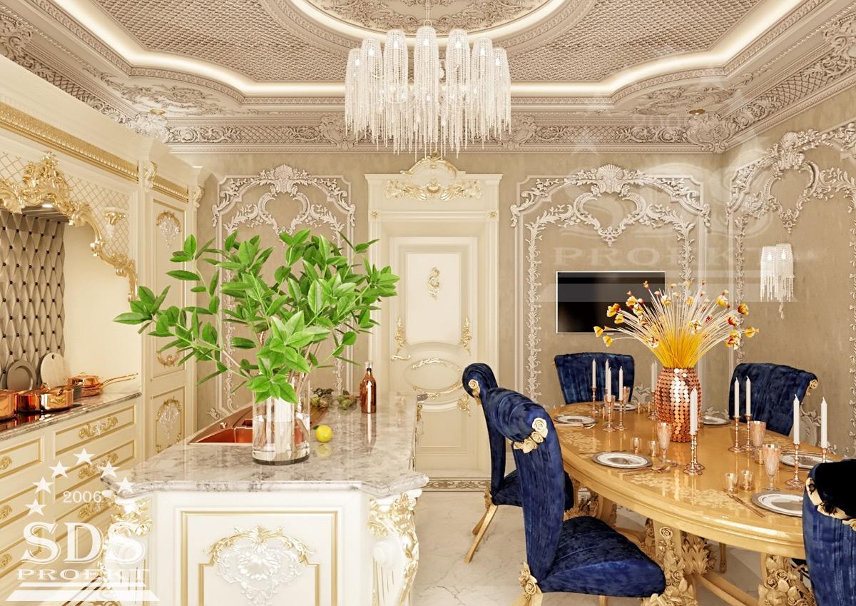 Дизайн гостиной с лепниной